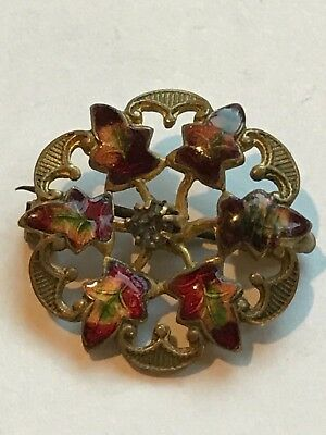 Vintage Antique Enamel Fall Leaf Pin Brooch Maples Leaves Brass