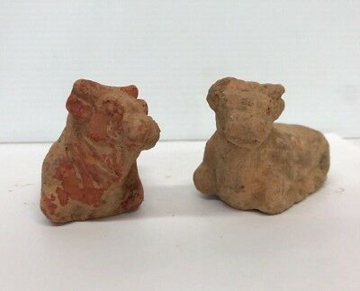 Pair Antique Chinese Han Dynasty Style Pottery Figure Cow Bulls