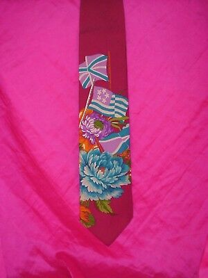 Men's Hugo Boss 100% Silk Bright Flags & Floral Neck Tie