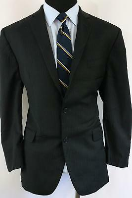 42R Joseph Abboud Black 100% wool Striped Men's Double Vent Suit 35x31 NO8*