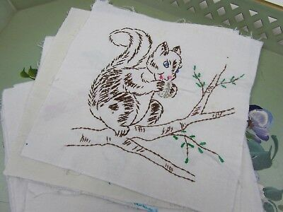14 Vintage Embroidered Quilt Blocks - Juvenile - Sweet Theme