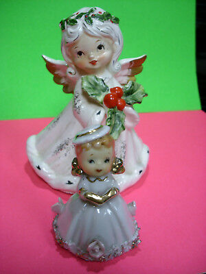 Vintage Angel 2 lot music box ceramic xmas holly MADE IN JAPAN