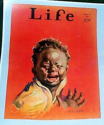 Adorable Boy Crying With A Worm On His Shoulder Reprint 1931 Cover Life Magazine