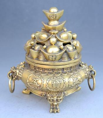 China old copper hand-carved money drawing cornucopia yuanbao incense burner f01
