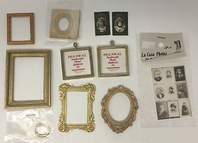 Vintage Dollhouse Miniature Lot Asst Brass Metal Resin Picture Frames & Photos
