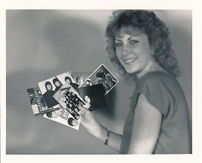 Original 4x5 Vintage Snapshot Beatles Fan Club Girl with Postcards