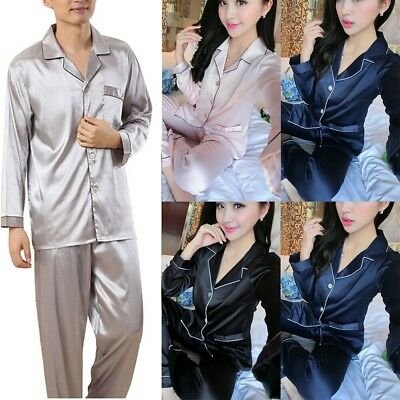 Womens Mens Silk Satin Pajamas Set Long Sleeve Button-Down Sleepwear Loungewear