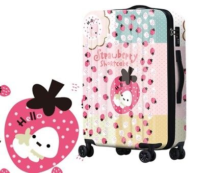 D296 Lock Universal Wheel Strawberry Travel Suitcase Luggage 20 Inches W