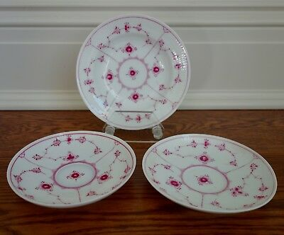 Royal Copenhagen Royal Purple/Ruby Red Plain Fluted Saucers (2) and Bowl (1)