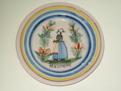 "Old ~ Signed ~ Quimper ~ Faience Pottery 5"" Plate ~ Breton Lady ~ France"