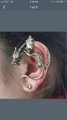 Womens' Got Vintage Middle Ages 3D Dragon Ear Ring, Brand New