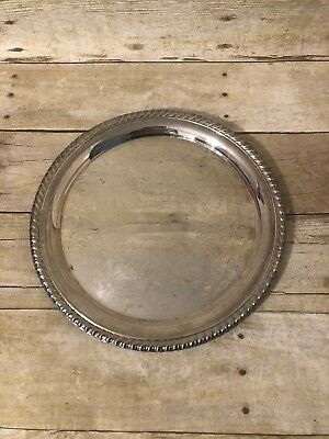 """Vintage WM ROGERS #471 - 12.25"""" Silver Plate Round Serving Tray - Eagle & Star"""