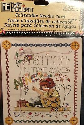 Mary Engelbreit Collectible Needle Card 25 Assorted Hand Sew Needles & Threader
