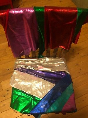 Lot Of Scrap Remnants Metallic Stretch Silver Purple Green Pink Red Blue