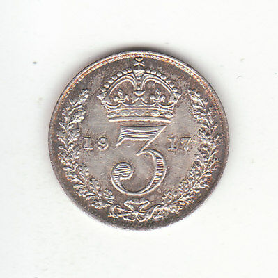 1917 Great Britain George V Sterling Silver Threepence.  FREE SHIPPING.