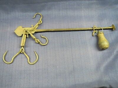 ANTIQUE Primitive Cast Iron Hanging Balance Beam SCALE Farm Tool - Marked - JS&S