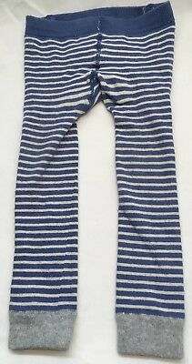 """Mini Boden Toddler Boy/Girl Footless Tights Blue Stripes """"Tractor"""" Size 2-3 Year"""