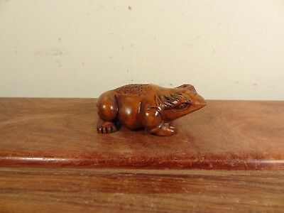 "Boxwood Netsuke ""Money Frog"""