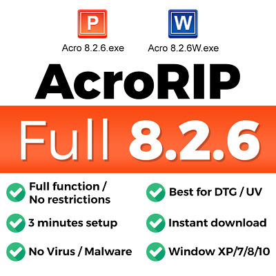 AcroRIP 8.2.6 Full version for DTG UV printing software color for Epson printers