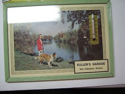 1955 Fuller's Garage West Yellowstone, Montana Calendar and Thermometer RARE