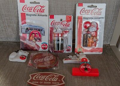 Lot Of 8 VINTAGE COCA-COLA REFRIGERATOR MAGNETS ASSORTED ~ NEW & PRE-OWNED