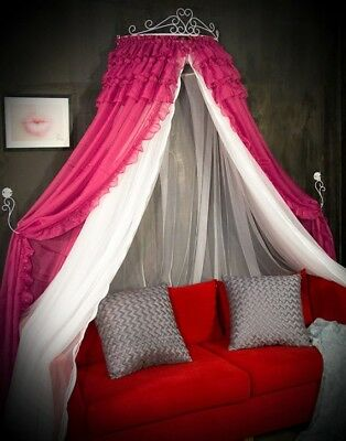 Queen '' Princess Rose Red Ceiling Type Mosquito Net Bed Canopy Bed Curtain#