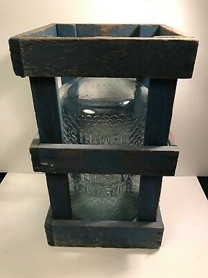 Vtg. Rare Glass Double Sided Coal & Ice  5-Gallon Jug & Vintage Wood Crate Nice