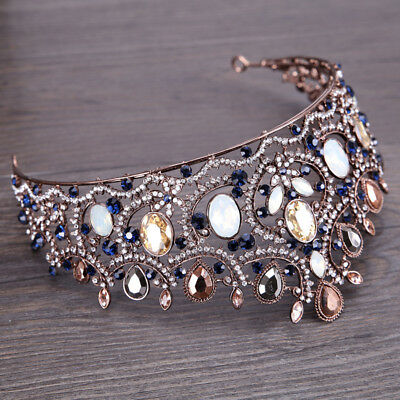 Vintage Baroque Crown Blue Alloy Rhinestone Wedding Crown Fashion Headdress USA