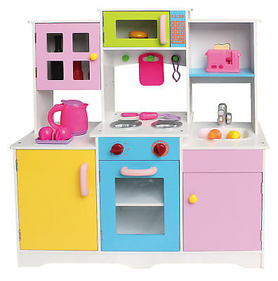 Large Girls Boys Kids Wooden Play Kitchen Role Play Pretend Toy Furniture