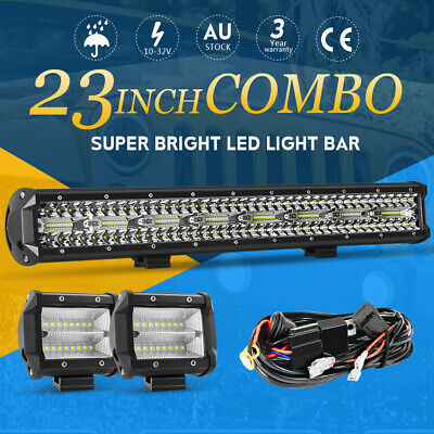 23inch CREE LED Light Bar Spot Flood Driving Lamp + 4'' Flood Pods Offroad 4WD
