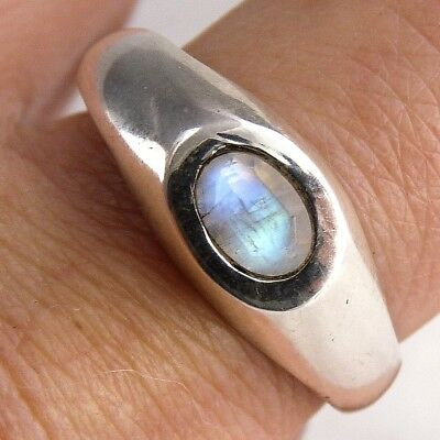 Gemstone Inlay SilverSari Ring Size US 8 3/4 Solid 925 Sterling Silver MOONSTONE