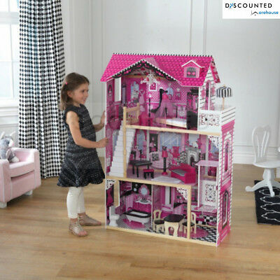 Kids Girls Doll House Large Wooden Pink Modern Playhouse Indoor Gift Play Games