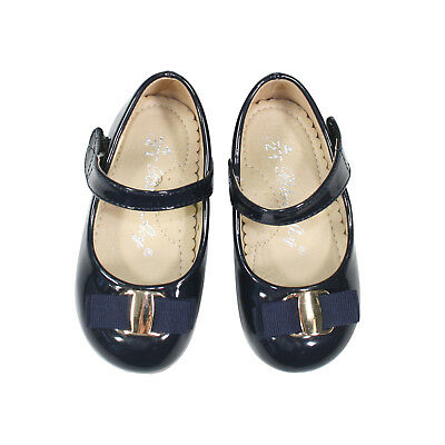 Girls/Baby (1-4 Years) Flat Flower Gril Dress Up Shoes in Cream or Navy 8865