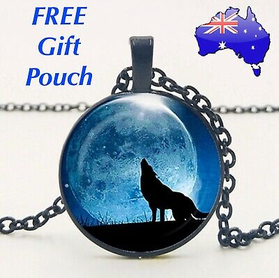 Howling Wolf Werewolf Full Moon Glass Cabochon 925 Sterling Silver Necklace Gift