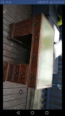 antique style reproduction writing partners pedestal desk Leather top.