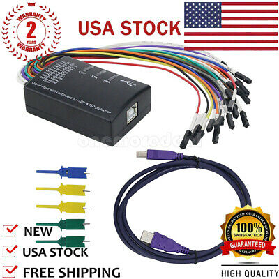 USB Logic Analyzer 100M Max Sample Rate 16CH Support 1.2.10 Software US SHIP