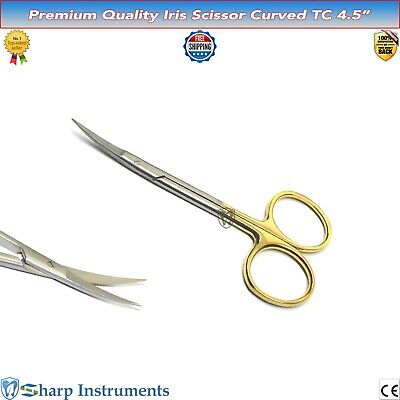 "New Iris Scissors CURVED TC 4.5"" Dental Surgical Veterinary Shears Tissue Gums**"