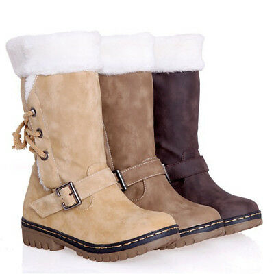 Ladies Womens Winter Warm Fur Lined Mid Calf Ankle Buckle Shoes Sizes Snow Boots