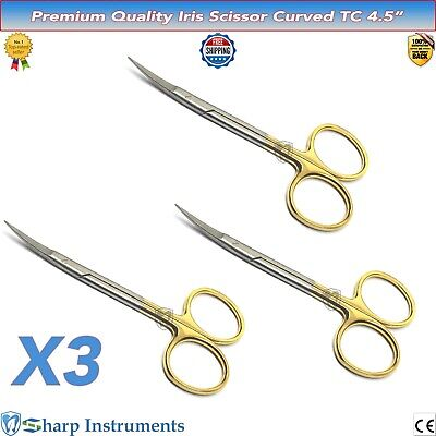 "New Iris Scissors CURVED TC 4.5"" Dental Surgical Veterinary Shears Tissue Gums 3"