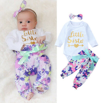f082ca9d1 3Pcs Newborn Baby Girl Little Sister Romper Floral Pants Headband Outfit  Clothes