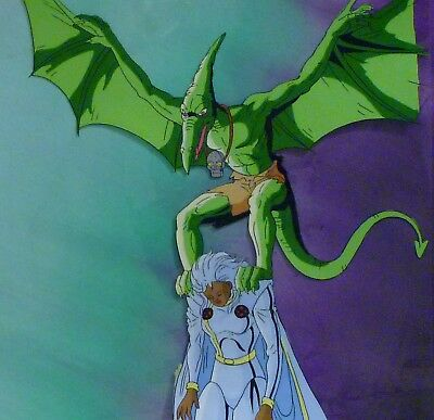 STORM & SAURON Original Cel Marvel X-Men Animated Series and painted background