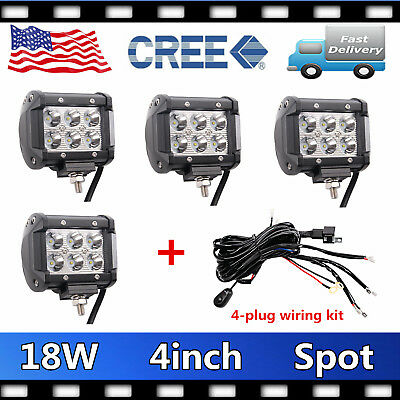 4X 4inch 18W CREE Led Work Light Bar Pods SPOT Cube Offroad+1X 4 Plug Wiring Kit