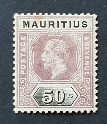 Mauritius KGV 50c SG 200 Very Lightly Mounted Mint, small tone spot at top