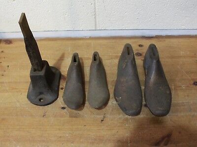Antique AJK Cobblers Shoe Lasts with Stand Two Sizes Shoemaker Tools - 254