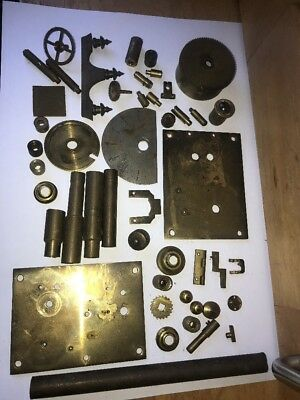 Job Lot Of Vintage Brass Clock Parts