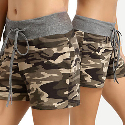 Womens Ladies High Waist Stretch Ripped Camouflage Shorts Summer Hotpants AU