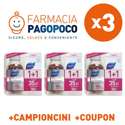 3x PHYTO PHYTOPHANERE BIPACK 360 CAPSULE ALES UNGHIA E CAPELLI +OMAGGI +COUPON