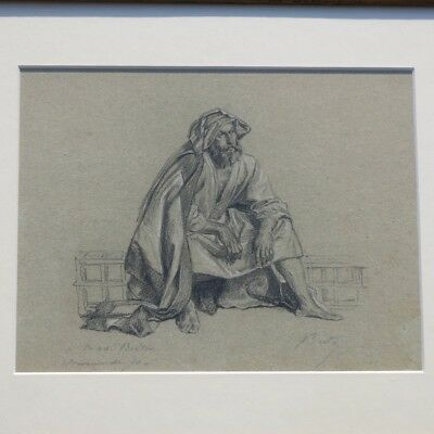 JULES BRETON French Drawing Dessin Portrait Pastel Paper Original Signed artist