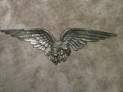 "Vintage Large Solid Brass American Bald Eagle Wall Mount 43"" Wing Span"