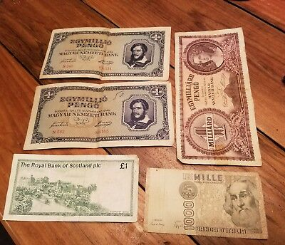 5 FOREIGN BILLS LOT 1982 Italy Mille Lire 1985 SCOTTISH POUND & 3 BUDAPEST NOTES